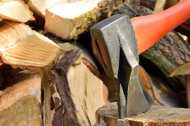 Rodzaje siekier: siekiera rozłupująca wbita w kołek drewniany, w tle stos połupanego drewna.