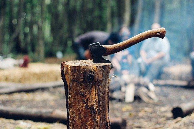 Rodzaje siekier: toporek turystyczny wbity w kłodę. W tle osoby siedzące przy ognisku. Sceneria leśna.