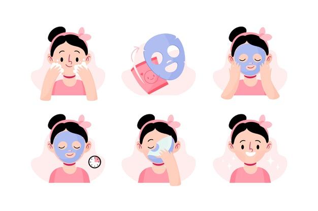 Na rysunku poprawna instrukcja aplikacji koreańskiej maseczki w płachcie - dziewczyna myje twarz, nakłada maseczkę, odczekuje, ściąga i wklepuje resztki w skórę.
